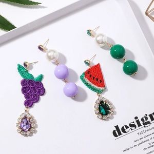 Jewelry - Grape fruit dangling rhinestone watermelon stud